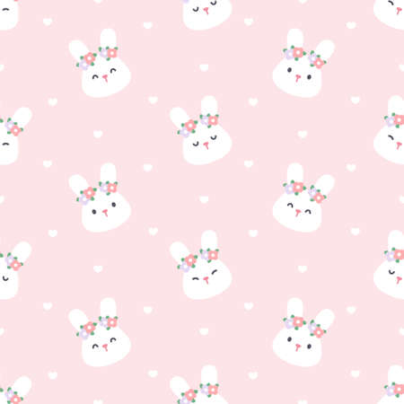 Cute bunny with flower crown seamless background repeating pattern, wallpaper background, cute seamless pattern background