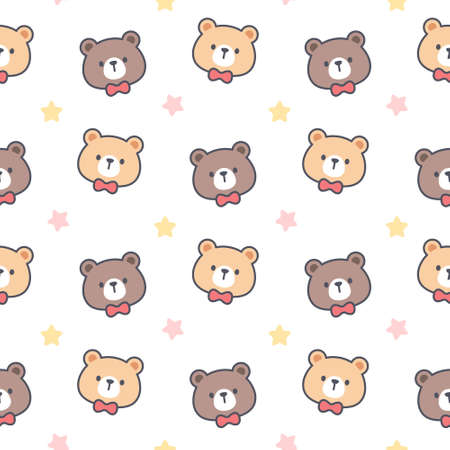 Cute bear with bow tie seamless background repeating pattern, wallpaper background, cute seamless pattern background