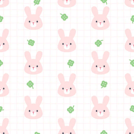 Bunny and lucky leaf clover seamless background repeating pattern, wallpaper background, cute seamless pattern background