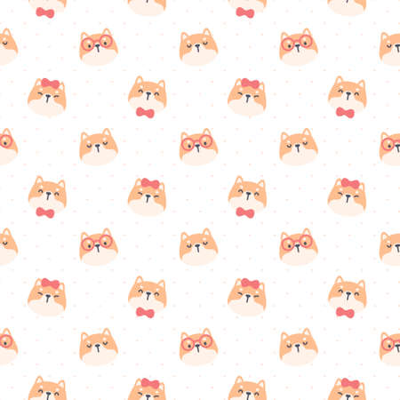Cute shiba inu dog seamless background repeating pattern, wallpaper background, cute seamless pattern background