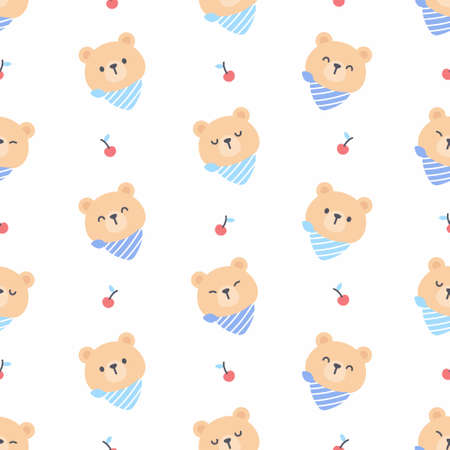 Cute bear with cherry seamless background repeating pattern, wallpaper background, cute seamless pattern background