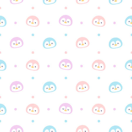 Cute penguin seamless background repeating pattern, wallpaper background, cute seamless pattern background Ilustração