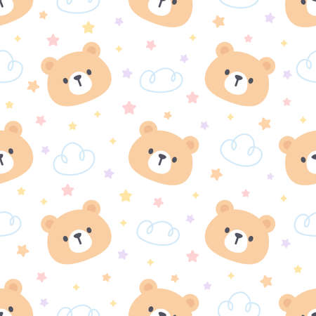 Cute bear with cloud and stars seamless background repeating pattern, wallpaper background, cute seamless pattern background Ilustração