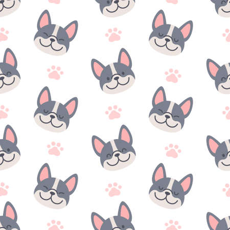 French bulldog with footprint seamless background repeating pattern, wallpaper background, cute seamless pattern background Ilustração