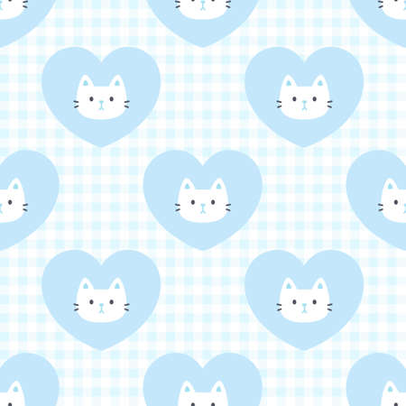 Cute cat and heart seamless background repeating pattern, wallpaper background, cute seamless pattern background Ilustração