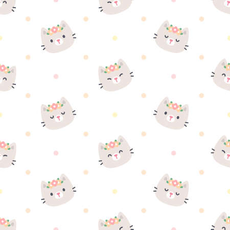 Cute cat with flower crown seamless background repeating pattern, wallpaper background, cute seamless pattern background