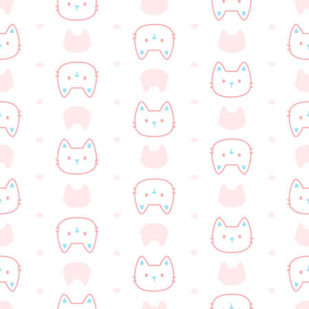 Cute pastel cat seamless background repeating pattern, wallpaper background, cute seamless pattern background Ilustração