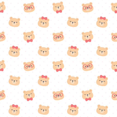 Cute teddy bear seamless background repeating pattern, wallpaper background, cute seamless pattern background