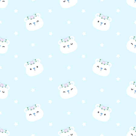 Cute bear with flower crown seamless background repeating pattern, wallpaper background, cute seamless pattern background