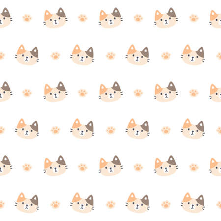 Cute kitty cat and paws footprint seamless background repeating pattern, wallpaper background, cute seamless pattern background