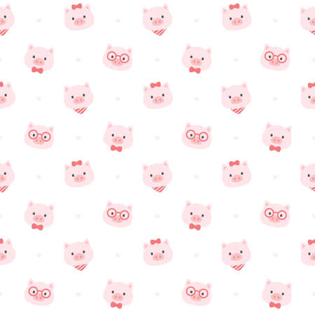 Cute pig seamless background repeating pattern, wallpaper background, cute seamless pattern background Ilustração
