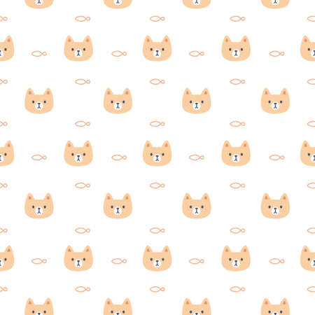 Cute cat and fish seamless background repeating pattern, wallpaper background, cute seamless pattern background