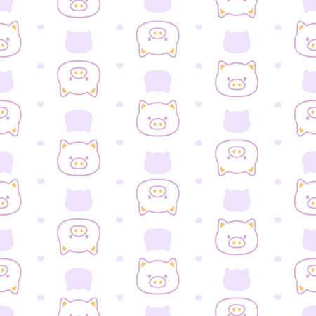 Cute pastel pig seamless background repeating pattern, wallpaper background, cute seamless pattern background