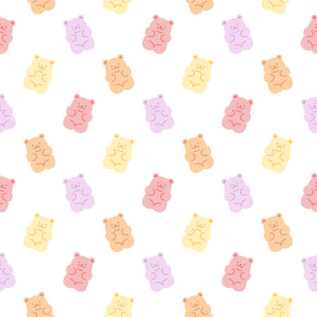 Cute gummy bears seamless background repeating pattern, wallpaper background, cute seamless pattern background