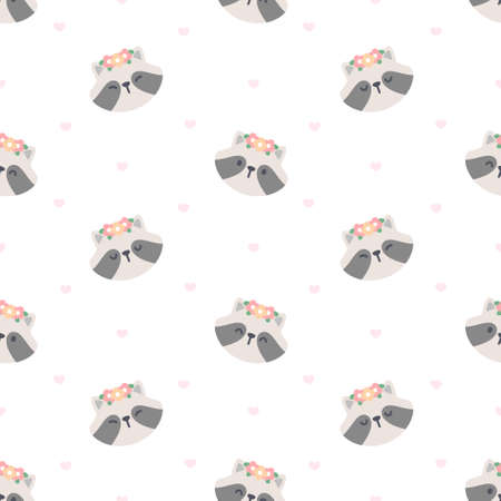 Cute raccoon with flower crown seamless background repeating pattern, wallpaper background, cute seamless pattern background Ilustração