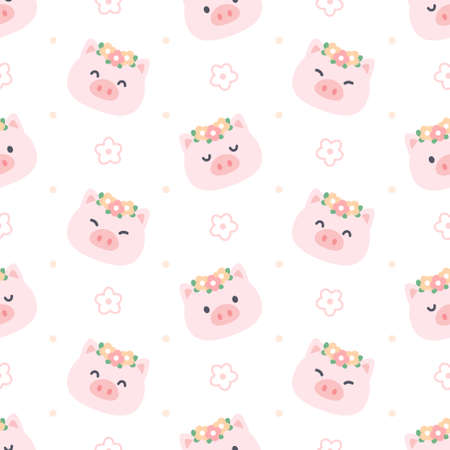 Cute pig with flower crown seamless background repeating pattern, wallpaper background, cute seamless pattern background Ilustração