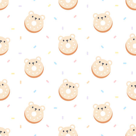 Cute bear ring donut seamless background repeating pattern, wallpaper background, cute seamless pattern background Ilustração