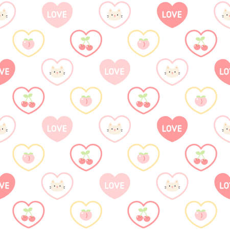 Cute cat and fruit love heart seamless background repeating pattern, wallpaper background, cute seamless pattern background