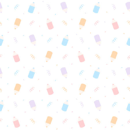 Cute pastel color pencil seamless background repeating pattern, wallpaper background, cute seamless pattern background Ilustração