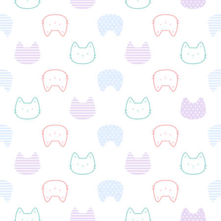 Cute cat seamless background repeating pattern, wallpaper background, cute seamless pattern background