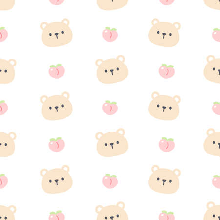 Cute bear and peach seamless background repeating pattern, wallpaper background, cute seamless pattern background