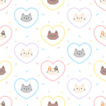 Cute cat pastel heart seamless background repeating pattern, wallpaper background, cute seamless pattern background Ilustração