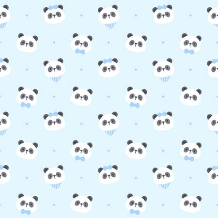Cute panda bear seamless background repeating pattern, wallpaper background, cute seamless pattern background