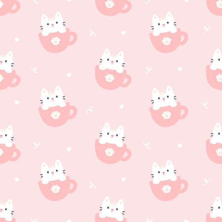 Cute cat in a cup of coffee seamless background repeating pattern, wallpaper background, cute seamless pattern background