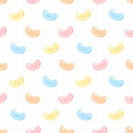Cute gummy jelly candy seamless background repeating pattern, wallpaper background, cute seamless pattern background