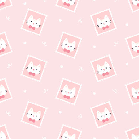 Cute cat postage stamp seamless background repeating pattern, wallpaper background, cute seamless pattern background Ilustração