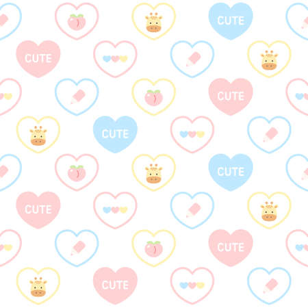 Cute giraffe and pastel heart seamless background repeating pattern, wallpaper background, cute seamless pattern background