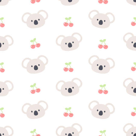 Cute koala bear and cherry seamless background repeating pattern, wallpaper background, cute seamless pattern background