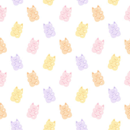 Cute gummy cat jelly candy seamless background repeating pattern, wallpaper background, cute seamless pattern background