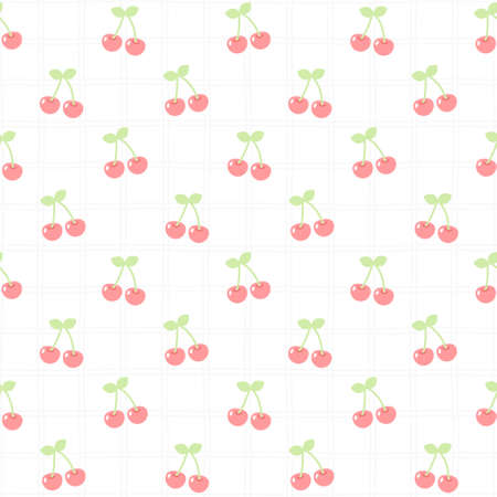Cute cherry seamless background repeating pattern, wallpaper background, cute seamless pattern background