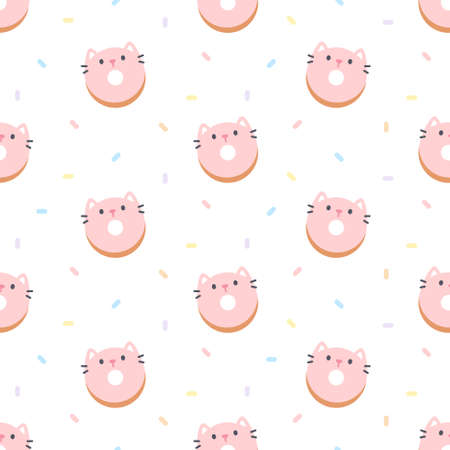 Cute cat ring donut seamless background repeating pattern, wallpaper background, cute seamless pattern background