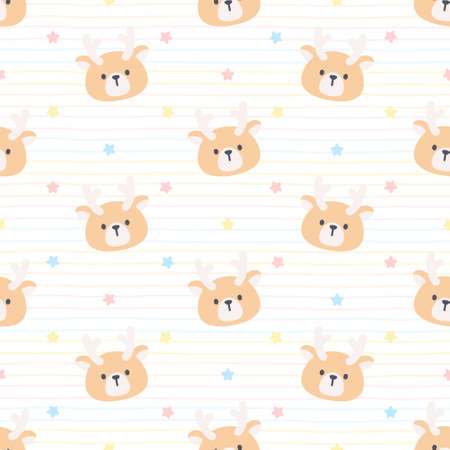 Cute deer and star seamless background repeating pattern, wallpaper background, cute seamless pattern background Ilustração