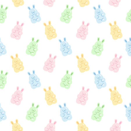 Cute gummy rabbit jelly candy seamless background repeating pattern, wallpaper background, cute seamless pattern background Ilustração