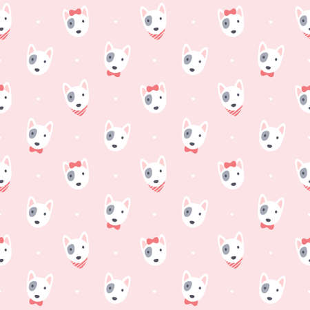 Cute bull terrier dog seamless background repeating pattern, wallpaper background, cute seamless pattern background