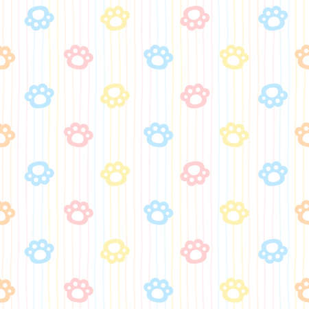 Cute cat paw footprint seamless background repeating pattern, wallpaper background, cute seamless pattern background