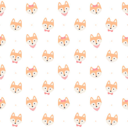 Cute fox seamless background repeating pattern, wallpaper background, cute seamless pattern background