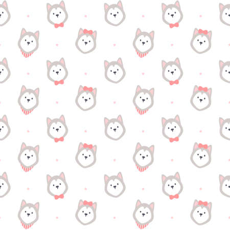 Adorable siberian husky seamless background repeating pattern, wallpaper background, cute seamless pattern background