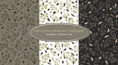 Olive Green Branches Wallpaper Classic Abstract Seamless Repeating Pattern inspired by Greek Olives. Simple Elements combined with unique Olive Green Color Palette will give you traditional touch in your design Ilustração