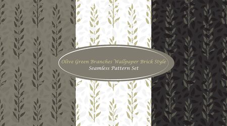 Olive Green Branches Wallpaper Brick Style Classic Abstract Seamless Repeating Pattern inspired by Greek Olives. Simple Elements combined with unique Olive Green Color Palette will give you traditional touch in your design Çizim