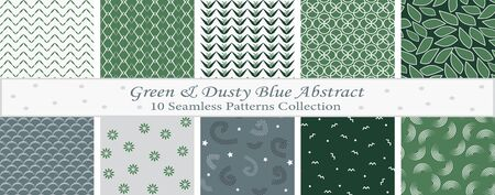 Green & Dusty Blue Abstract Set Illustration