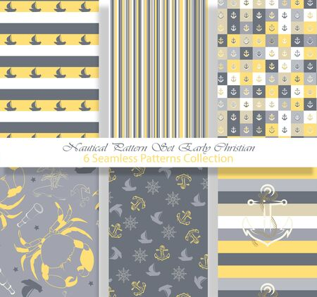 Nautical Pattern Set inspired by adventures on the seas. Early Christian style color palette. Anchor, ship wheel, telescope, crab ... It fits any surface you like, T-Shirt, Wall Coverings, Bed Linen, Wrapping Paper, Mugs, etc.