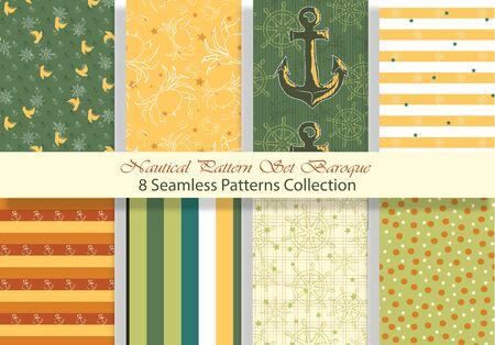 Nautical Pattern Set inspired by adventures on the seas. Baroque color palette. Anchor, ship wheel, telescope, crab ... It fits any surface you like, T-Shirt, Wall Coverings, Bed Linen, Wrapping Paper, Mugs, etc. Vettoriali