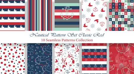 Nautical Pattern Set inspired by adventures on the seas. Classic Red and Blue color palette. Anchor, ship wheel, telescope, crab ... It fits any surface you like, T-Shirt, Wall Coverings, Bed Linen, Wrapping Paper, Mugs, etc.