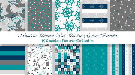 Nautical Pattern Set inspired by adventures on the seas. Persian Green Boulder color palette. Anchor, ship wheel, telescope, crab... It fits any surface you like, T-Shirt, Wall Coverings, Bed Linen, Wrapping Paper, Mugs, etc.