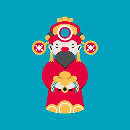 Vecteur de ligne plate et illustration, le dieu de la richesse Chainese ou le dieu de la fortune de Chainese tiennent un cube d'or à la main pour la bonne chance sur fond bleu.