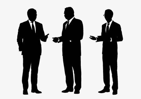 Le siluette del gruppo della gente di affari posano su fondo bianco, sul vettore di linea piatta e sull'illustrazione.